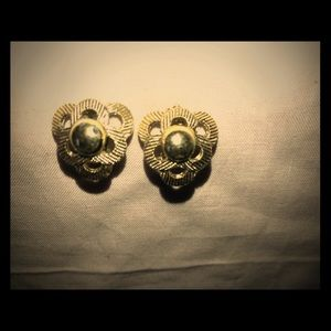 Vintage gold tone clip on earrings etched design